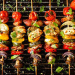 Healthy skewers on a grill